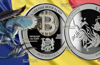 Чад серебряная монета 3000 франков КФА Синий Дракон