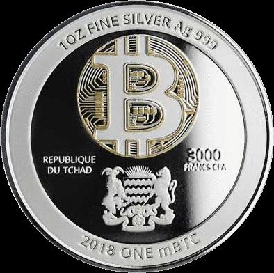 Чад серебряная монета 3000 франков КФА Синий Дракон, аверс