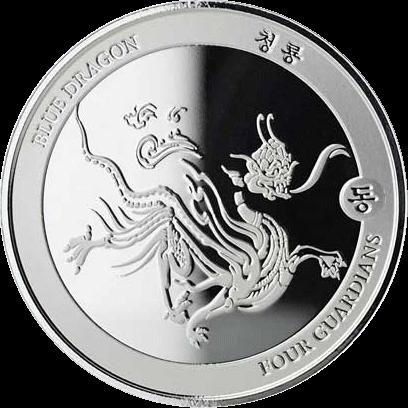 Чад серебряная монета 3000 франков КФА Синий Дракон, реверс