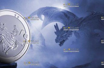 Чад серебряная монета 500 франков КФА Синий Дракон