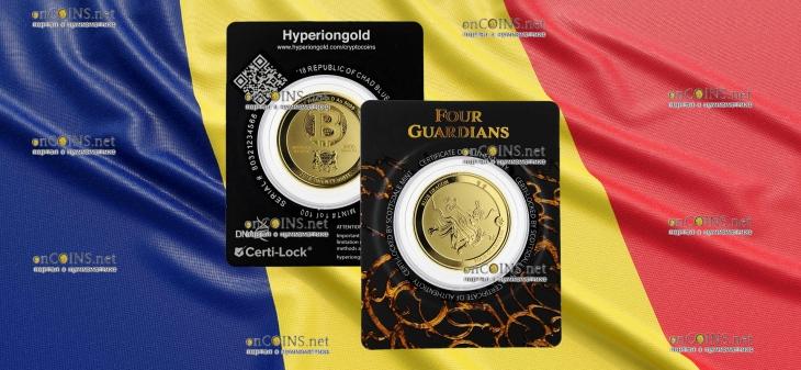 Чад золотая монета 3000 франков КФА Синий Дракон, подарочная упаковка