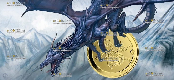 Чад золотая монета 3000 франков КФА Синий Дракон