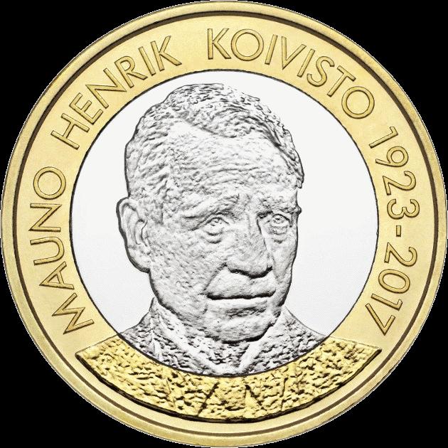 Финляндия монета 5 евро Мауно Хенрик Койвисто, реверс