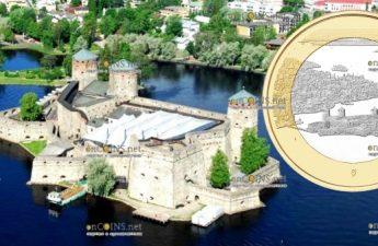 Финляндия монета 5 евро Олавинлинна и озеро Пихлаявеси