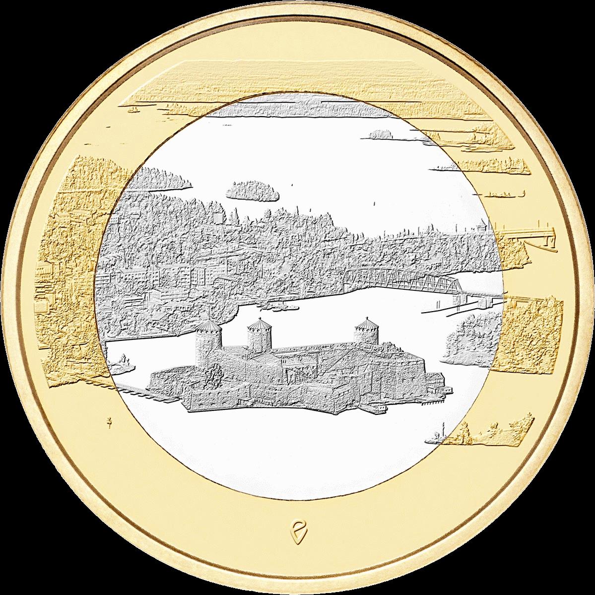 Финляндия монета 5 евро Олавинлинна и озеро Пихлаявеси, реверс
