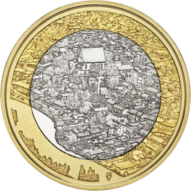 Финляндия монета 5 евро Порвоо, реверс