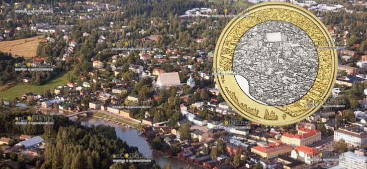Финляндия монета 5 евро Порвоо