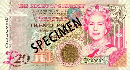 Гернси памятная банкнота номиналом 20 гернсийских фунтов, лицевая сторона