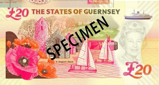 Гернси памятная банкнота номиналом 20 гернсийских фунтов, оборотная сторона