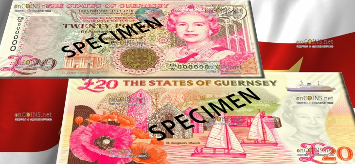 Гернси памятная банкнота номиналом 20 гернсийских фунтов
