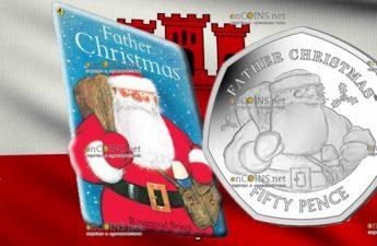 Гибралтар монета 50 пенсов Отец Рождества, без цвета