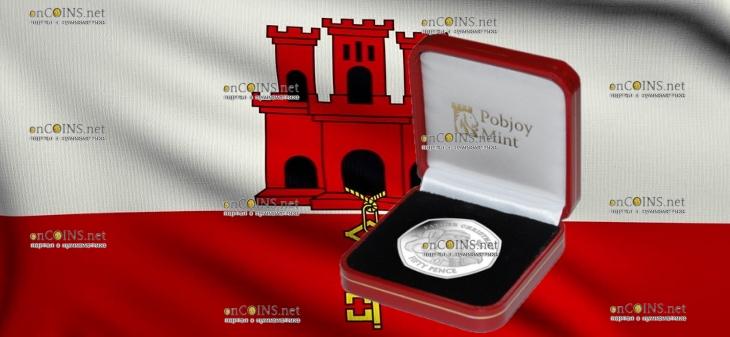 Гибралтар монета 50 пенсов Отец Рождества, подарочная упаковка