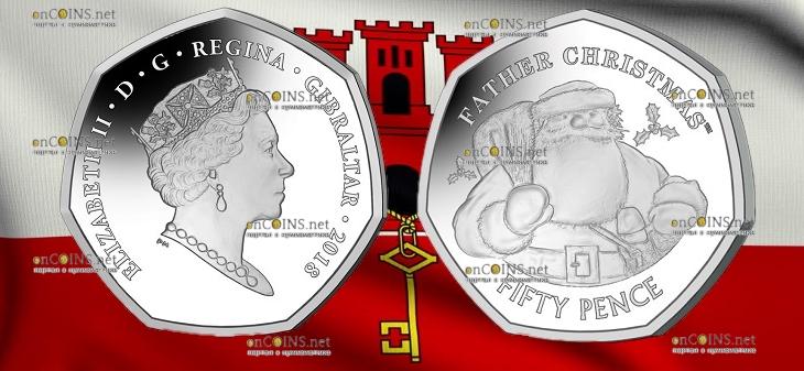 Гибралтар монета 50 пенсов Отец Рождества, в серебре
