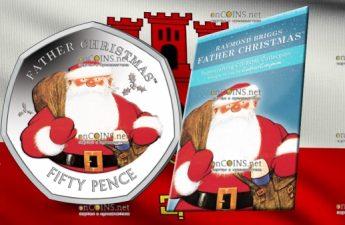 Гибралтар монета 50 пенсов Отец Рождества, в цвете