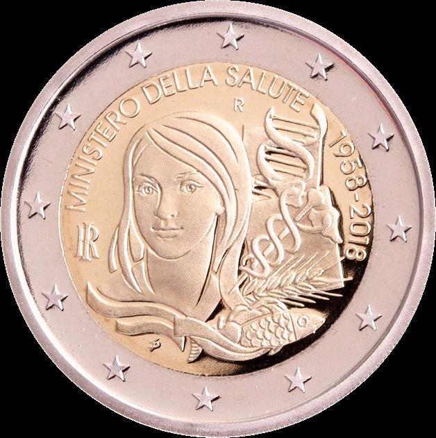 Италия монета 2 евро Министерство здравоохранения, реверс