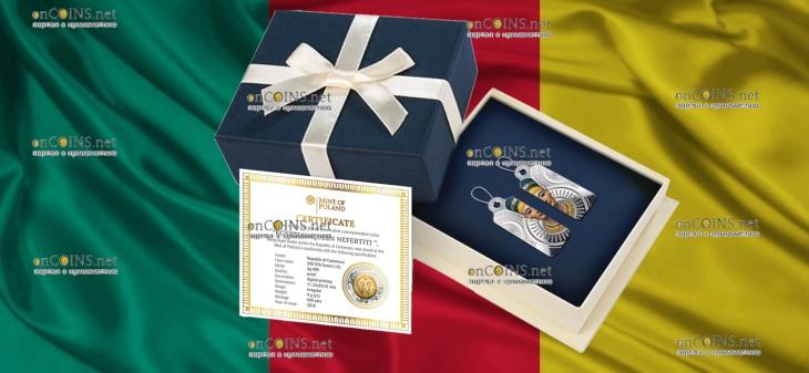 Камерун монета-сережка 200 франков КФА Царица Нефертити, подарочная упаковка