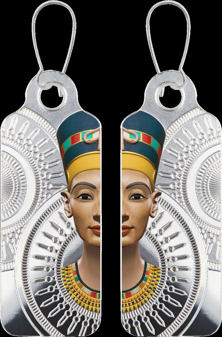 Камерун монета-сережка 200 франков КФА Царица Нефертити, реверс