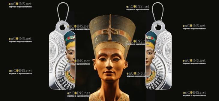 Камерун монета-сережка 200 франков КФА Царица Нефертити
