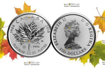 Канада монета 150 долларов Платиновый Кленовый лист 2018 год