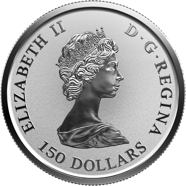 Канада монета 150 долларов Платиновый Кленовый лист 2018 год, аверс