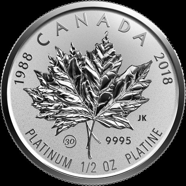 Канада монета 150 долларов Платиновый Кленовый лист 2018 год, реверс