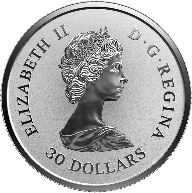 Канада монета 30 долларов Платиновый Кленовый лист 2018 год, аверс