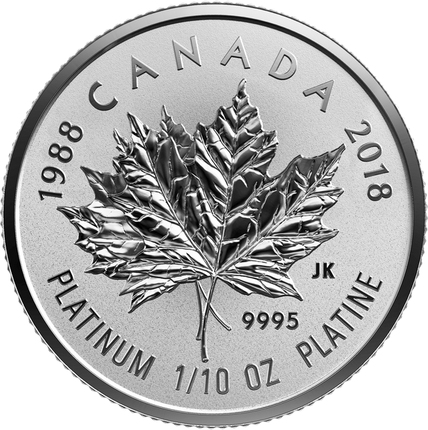 Канада монета 30 долларов Платиновый Кленовый лист 2018 год, реверс