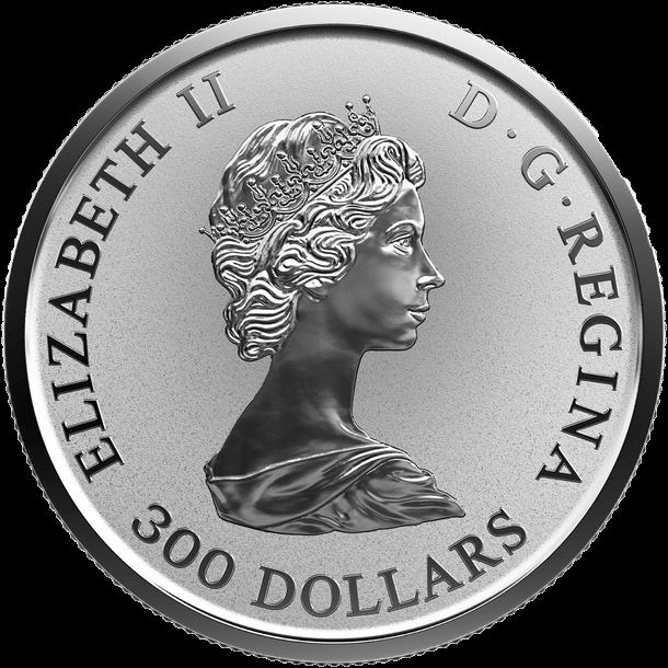 Канада монета 300 долларов Платиновый Кленовый лист 2018 год, аверс