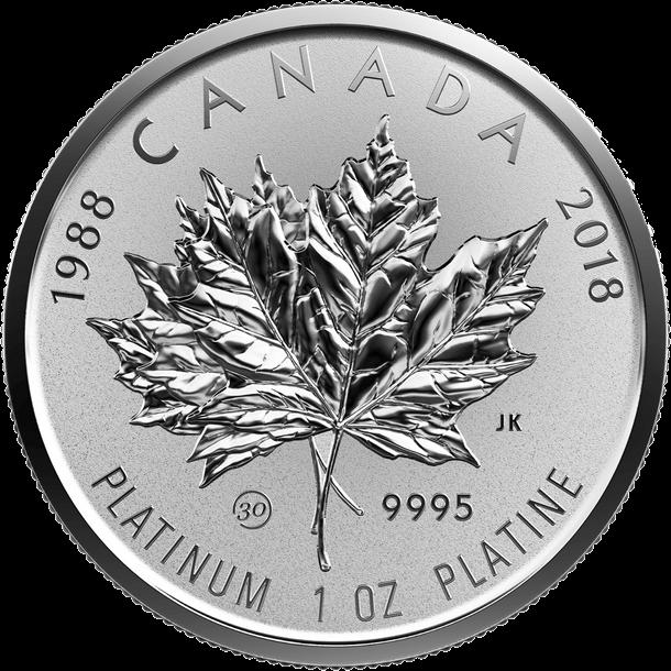 Канада монета 300 долларов Платиновый Кленовый лист 2018 год, реверс