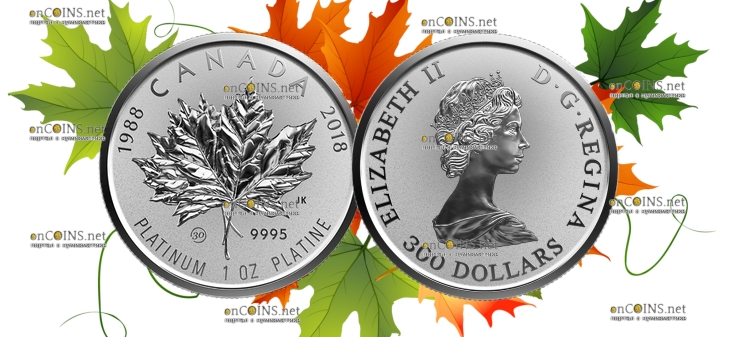 Канада монета 300 долларов Платиновый Кленовый лист 2018 год