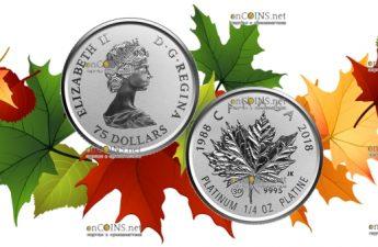 Канада монета 75 долларов Платиновый Кленовый лист 2018 год