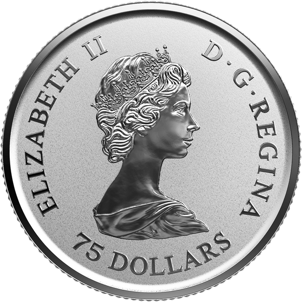Канада монета 75 долларов Платиновый Кленовый лист 2018 год, аверс