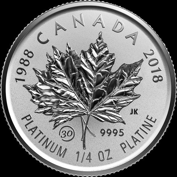 Канада монета 75 долларов Платиновый Кленовый лист 2018 год, реверс