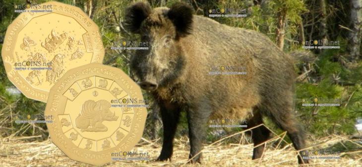 Казахстан золотая монеты 500 тенге Год кабана