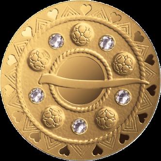 Латвия монета 75 евро Пузырьковая фибула, аверс