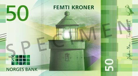 Норвегия банкнота 50 крон 2018 года, лицевая сторона