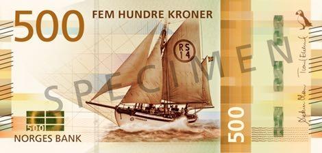 Норвегия банкнота 500 крон 2018 года, лицевая сторона