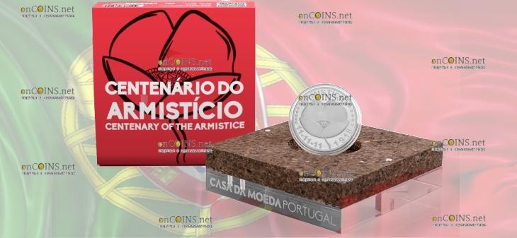 Португалия монета 5 евро 100-летие перемирия, подарочная упаковка