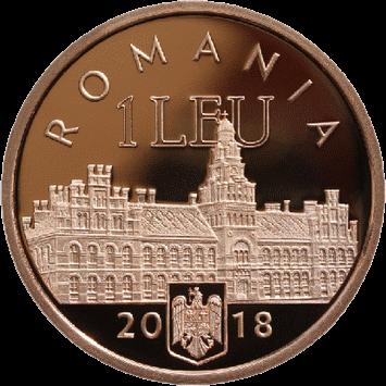Румыния монета 1 лей 100-летие присоединения Буковины к Румынии, аверс