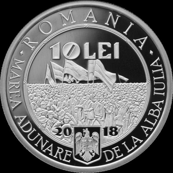 Румыния монета 10 лей 100-летие Великого объединения 1 декабря 1918, аверс