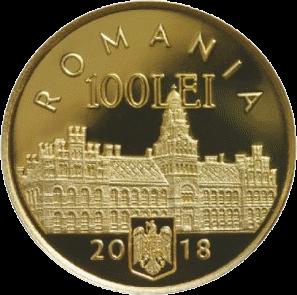 Румыния монета 100 лей 100-летие присоединения Буковины к Румынии, аверс