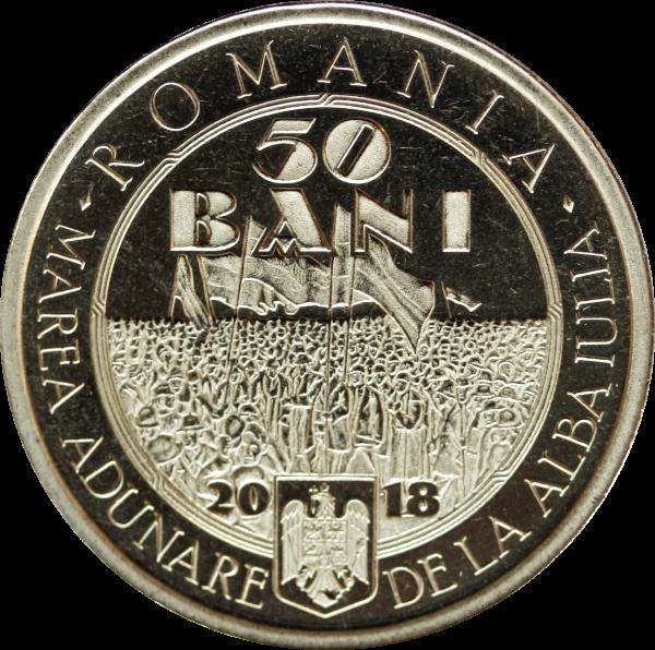 Румыния монета 50 бани 100-летие Великого объединения 1 декабря 1918, аверс