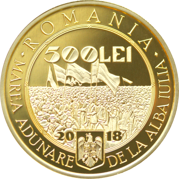 Румыния монета 500 лей 100-летие Великого объединения 1 декабря 1918, аверс