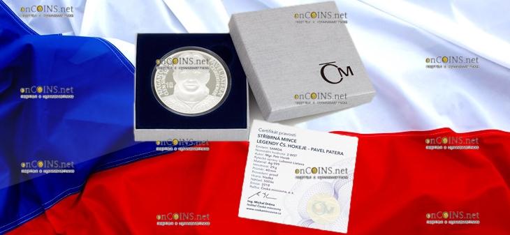 Самоа монета 2 доллара Павел Патера, подарочная упаковка