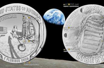 США монета 1 доллар Аполлон-11 50 лет