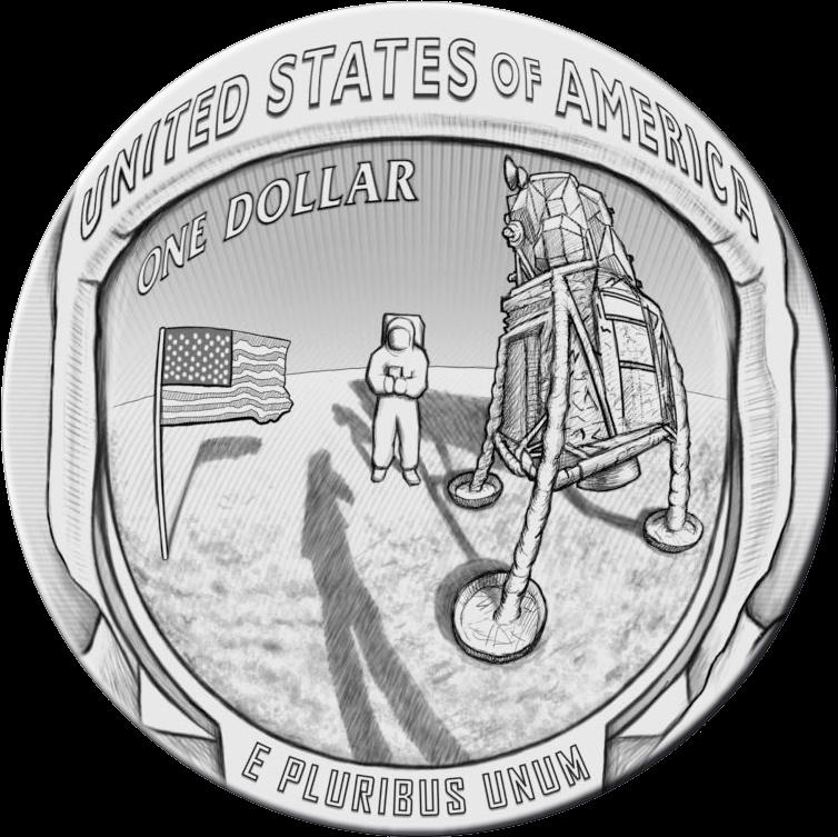 США монета 1 доллар Аполлон-11 50 лет, реверс