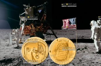 США монета 5 долларов Аполлон-11 50 лет