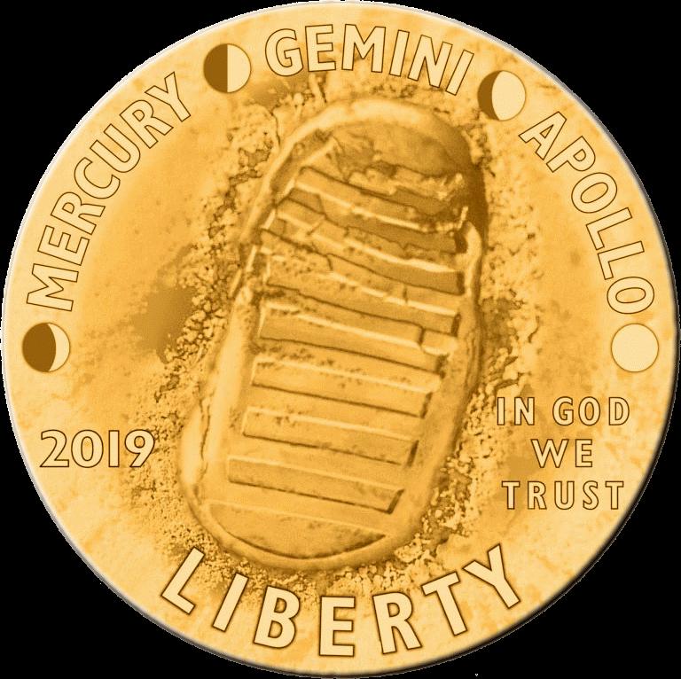 США монета 5 долларов Аполлон-11 50 лет, аверс
