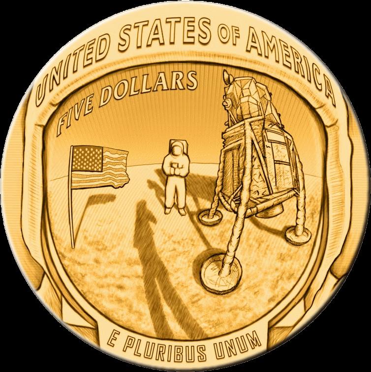 США монета 5 долларов Аполлон-11 50 лет, реверс