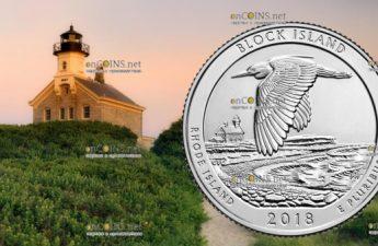 США монета четверть доллара Национальный заповедник на острове Блок